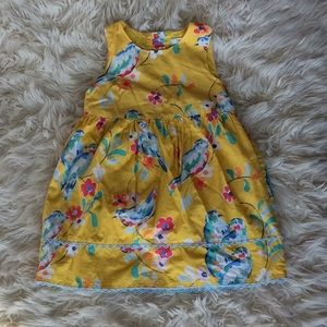 5/$45 Baby Boden yellow birdie lined sundress 2-3